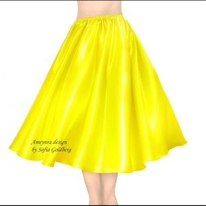 Yellow Satin Skirt Mod-Calf New All Sizes in stock